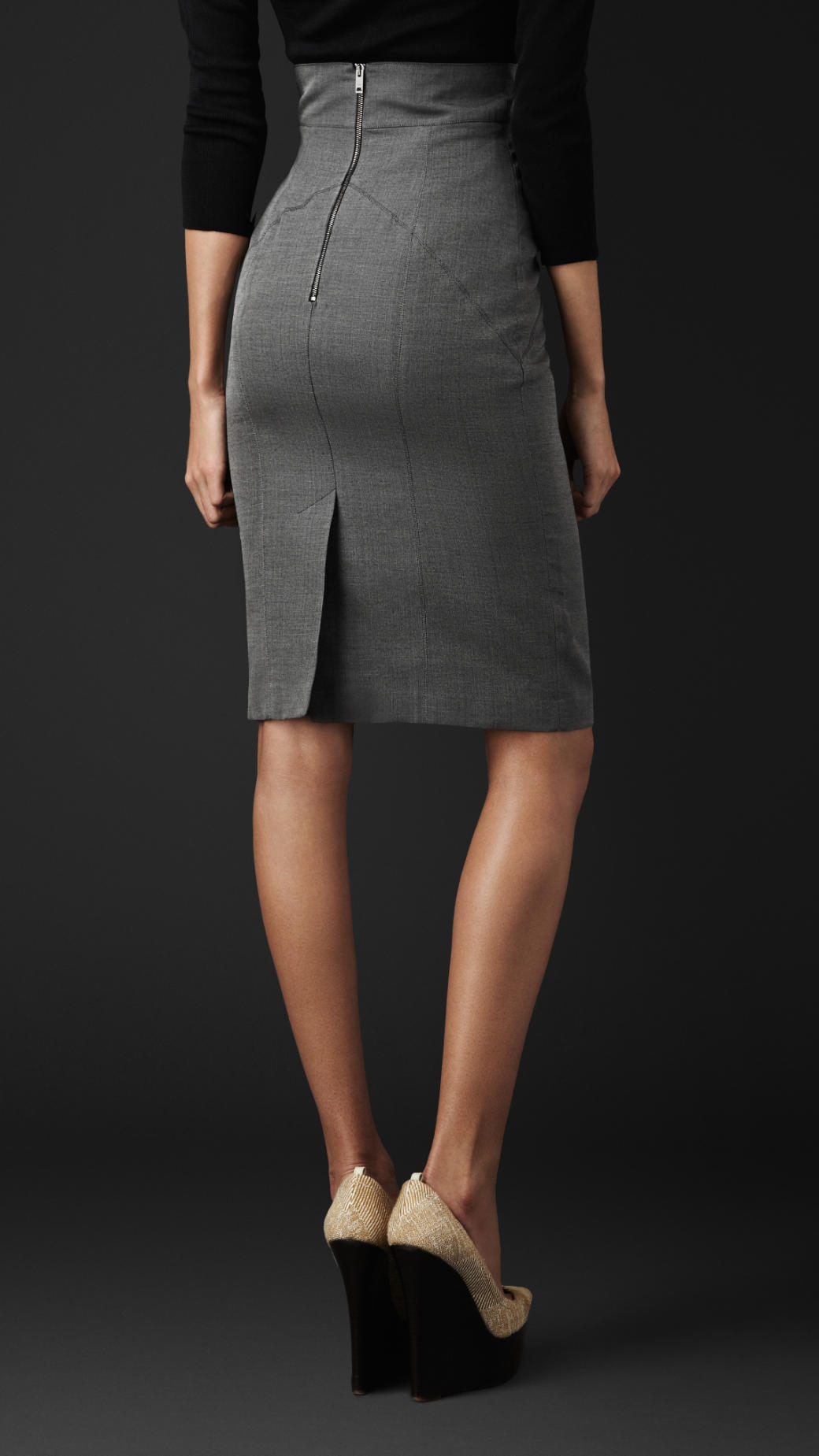 Burberry Cotton Silk Pencil Skirt In Gray Lyst