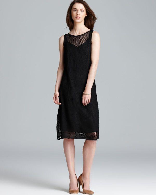 Eileen Fisher Bateau Neck Mesh Dress In Black Lyst