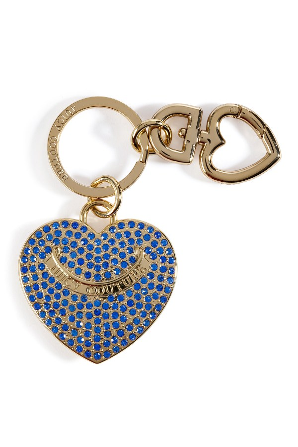 Juicy Couture Bright Lapis Pave Heart Key Fob In Box