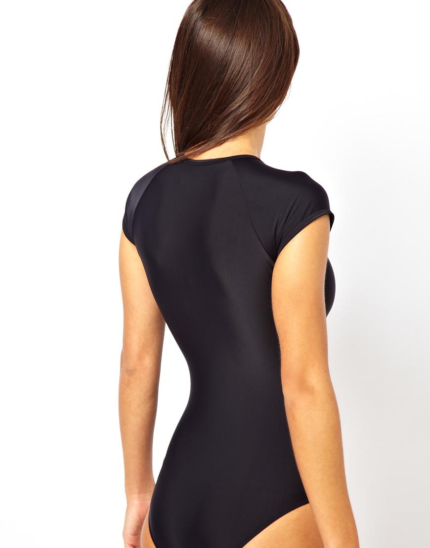 Lyst Asos Zip Front Scuba Swimsuit In Black
