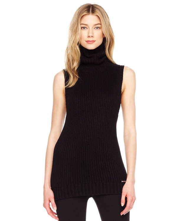 Black Sleeveless Turtleneck Sweater