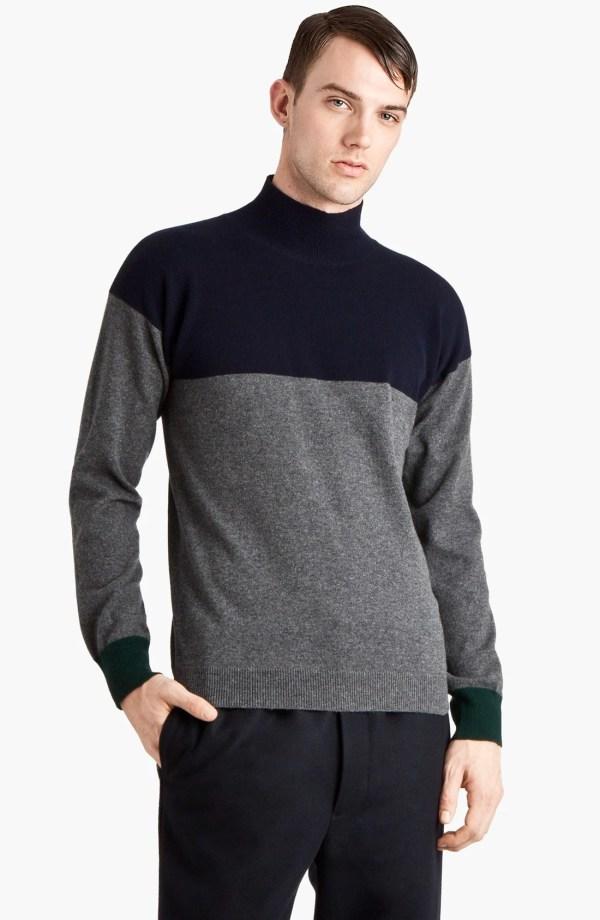 Marni Cashmere Mock Turtleneck Sweater In Gray Men