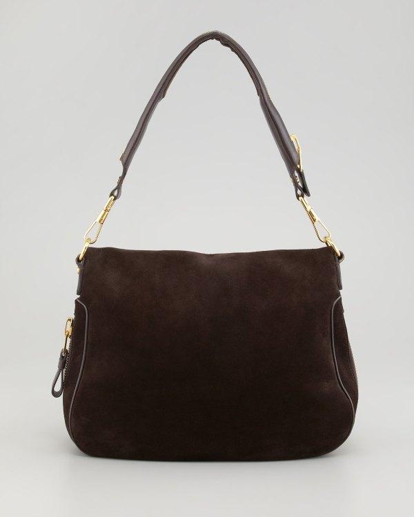 Tom Ford Jennifer Large Suede Shoulder Bag In Brown Dark