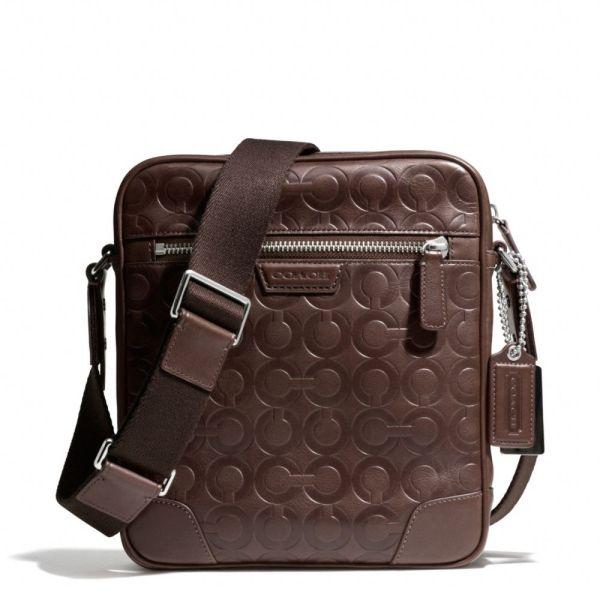 Coach Bleecker Large Flight Bag In Op Art Embossed Leather