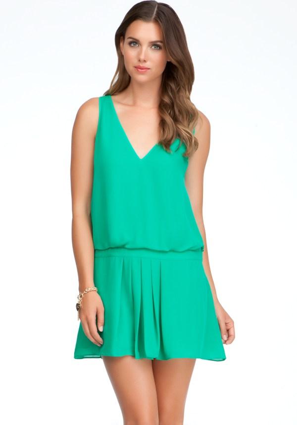 Lyst - Bebe Drop Waist Pleated Silk Dress In Green