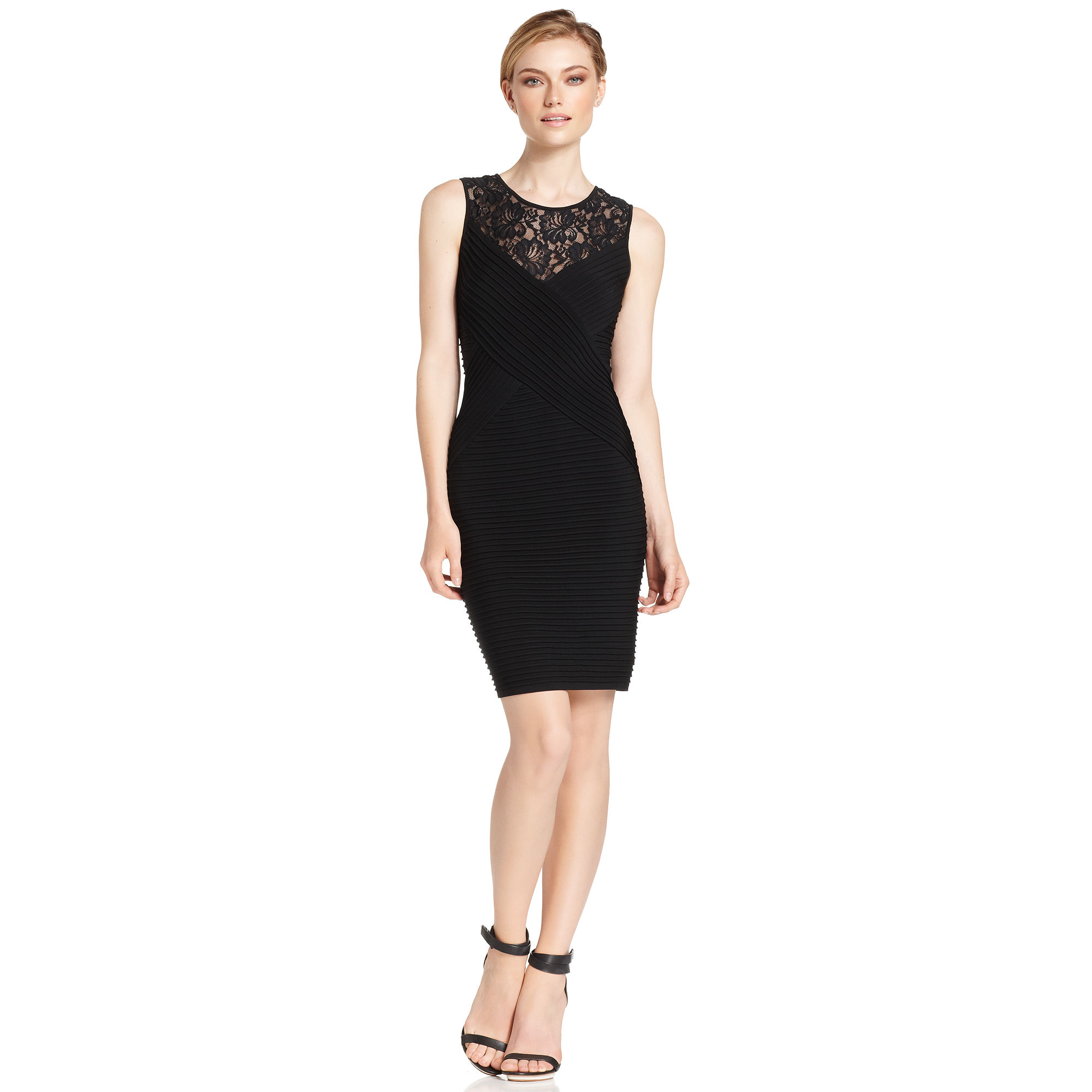 Calvin Klein Sleeveless Lace Banded Cocktail In Black  Lyst