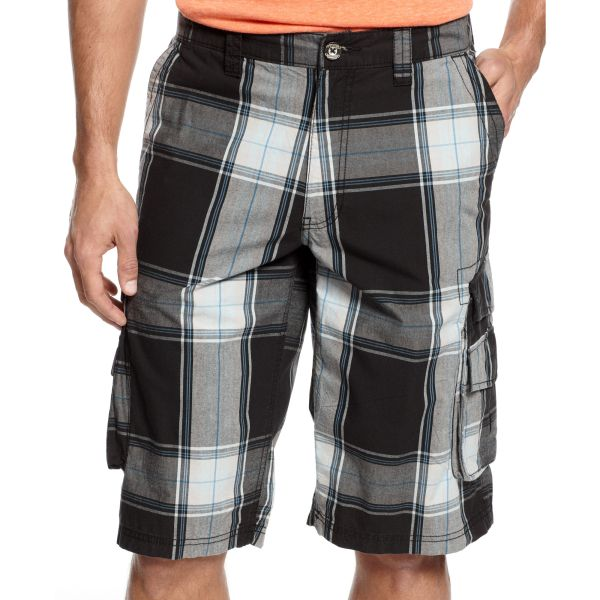 International Concepts Freedom Plaid Cargo Shorts In