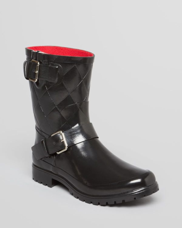 Sperry Top-sider Moto Rain Boots Falcon Quilted In Black