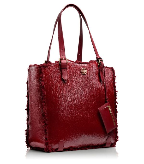 Tory Burch Patent Shearling Channing Tall Tote In Red Lyst