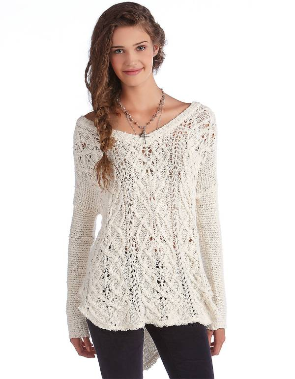 Free People Cross Heart Cotton Pullover Sweater In