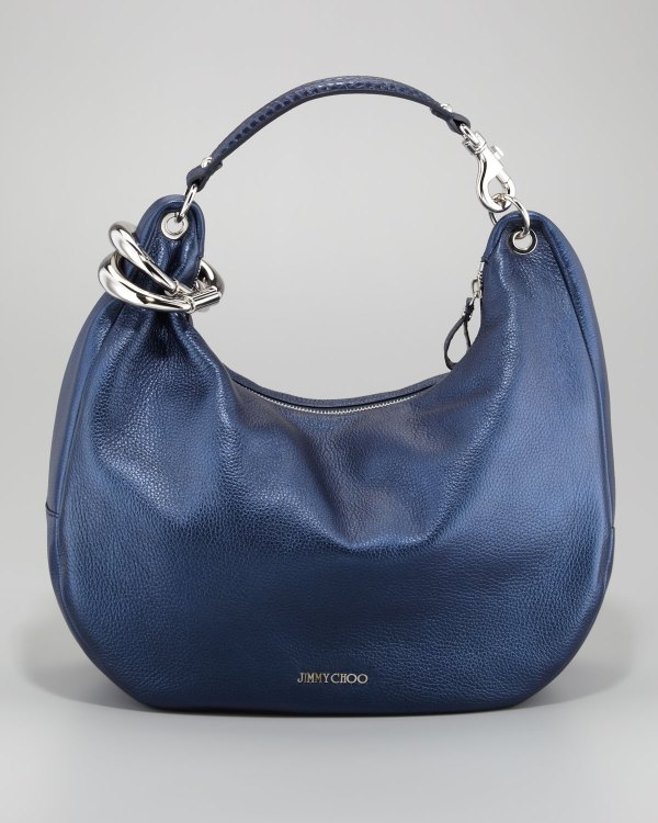 Jimmy Choo Solar Metallic Hobo Bag In Blue Navy Lyst
