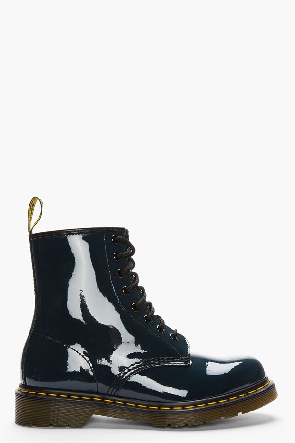 Dr. Martens Navy Patent Leather Original 8-eye Boots In