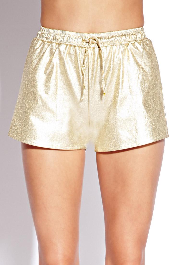 Lyst Forever 21 Glammed Up Metallic Shorts In Metallic