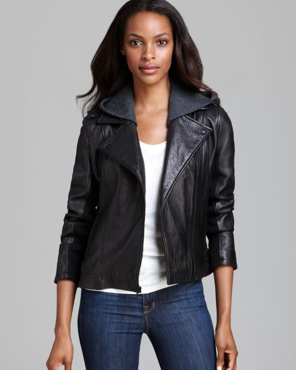 Lyst - Dkny Leather Jacket Moto Knit Hood In Black