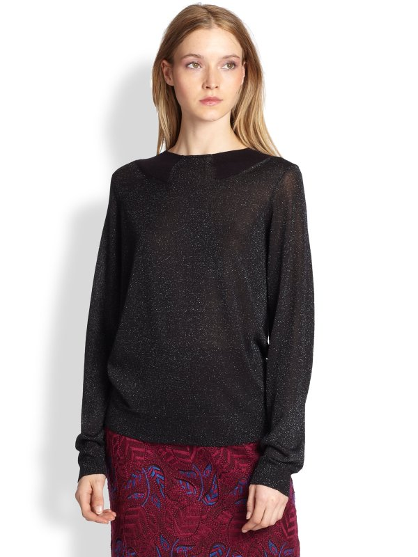 Marc Jacobs Sparkle Metallic Sweater In Black - Lyst