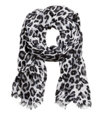 H&m Scarf in Black (Black/White leopard print) | Lyst