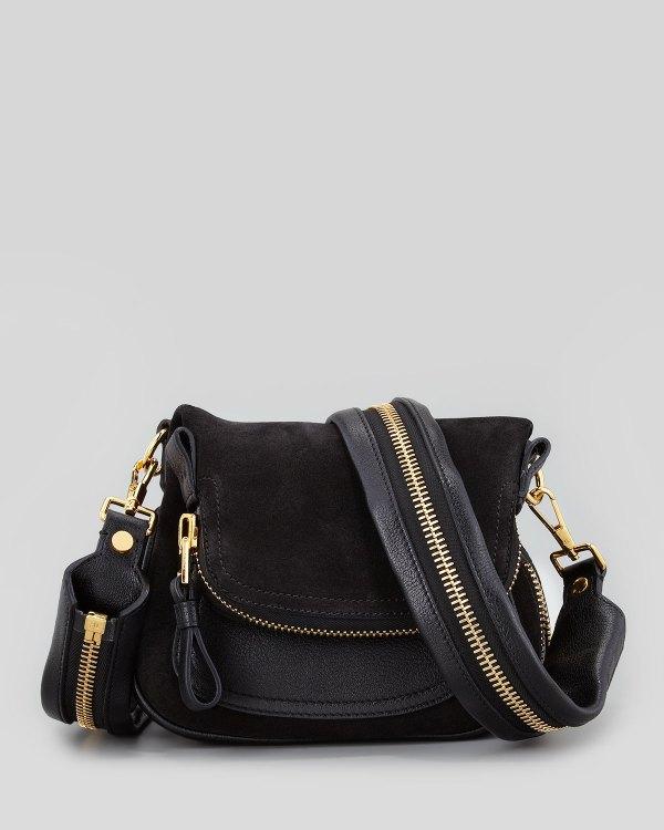 Tom Ford Jennifer Suede Mini Crossbody Bag Black In