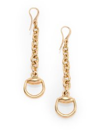 Gucci Horsebit 18k Yellow Gold Drop Earrings in Metallic ...