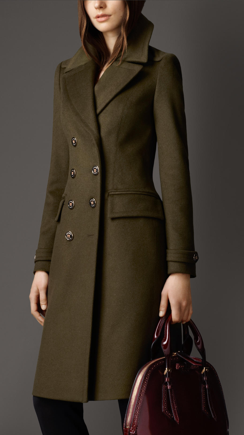 7cee699b71b Astonishing Lyst Burberry Shearling Collar Wool Blend Pea Coat In ...