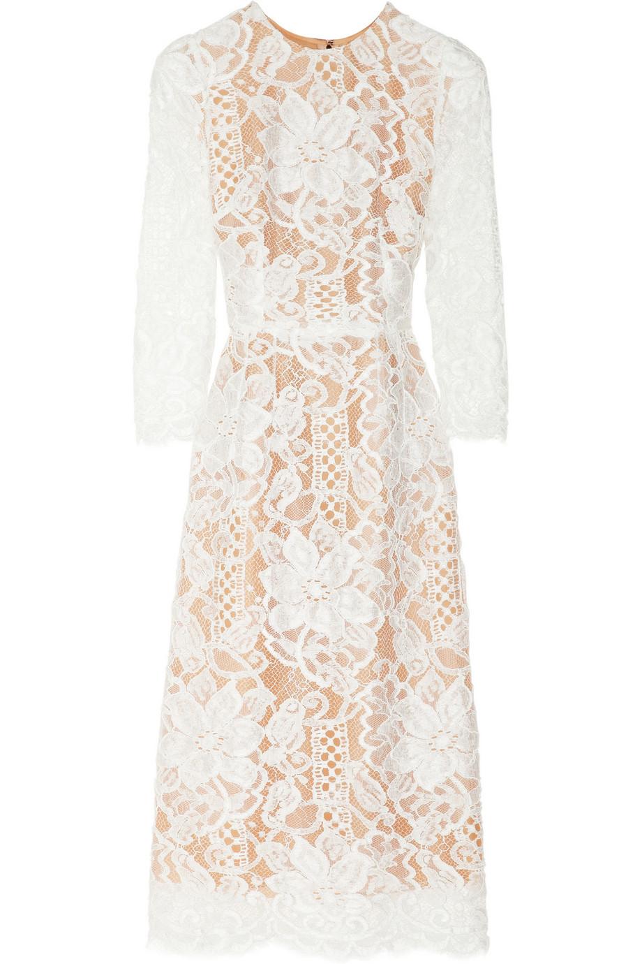 Lyst  Dolce  Gabbana Lace and Silkorganza Midi Dress in
