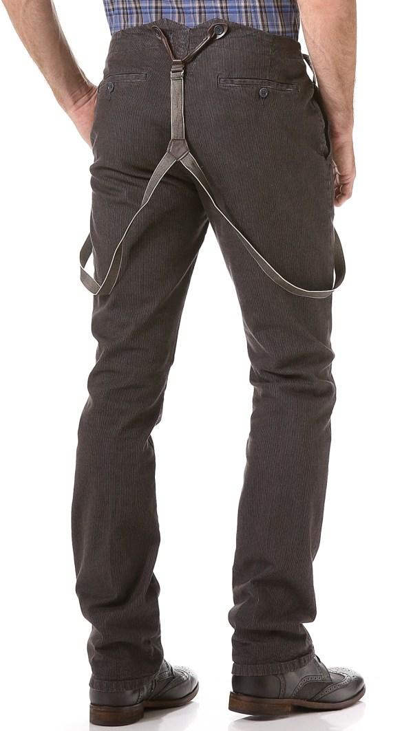Lyst - John Varvatos Slim Suspender Pants In Brown Men