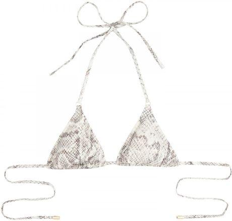 Melissa Odabash Portugal Snake Print Bikini Top in Gray