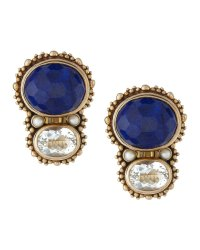Stephen Dweck Lapis and Rock Crystal Piggyback Earrings in