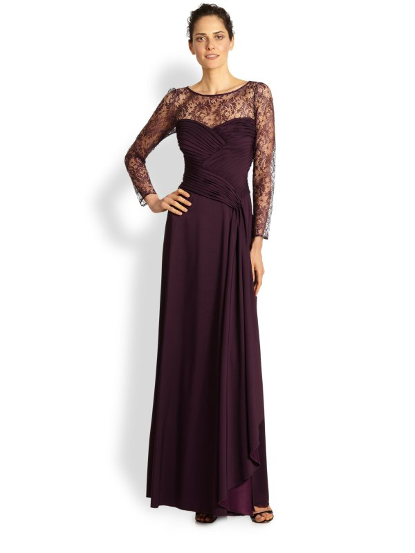Lyst - Tadashi Shoji Illusion Lace Gown In Purple
