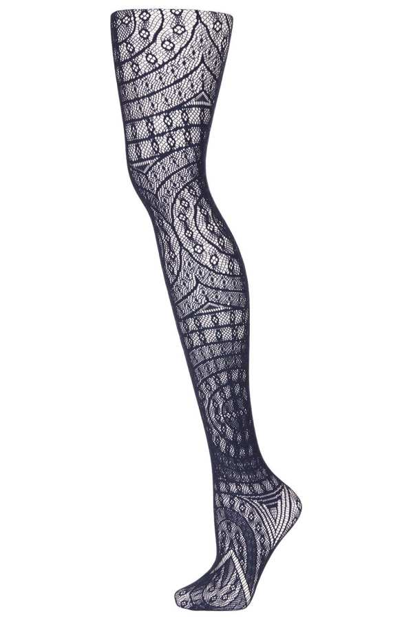Navy Blue Lace Tights