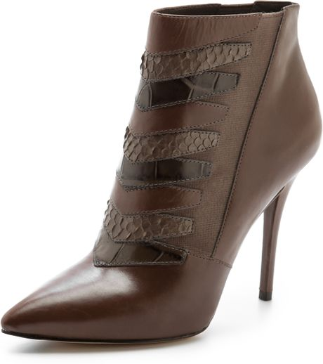 B Brian Atwood Duris High Heel Booties in Brown Elephant