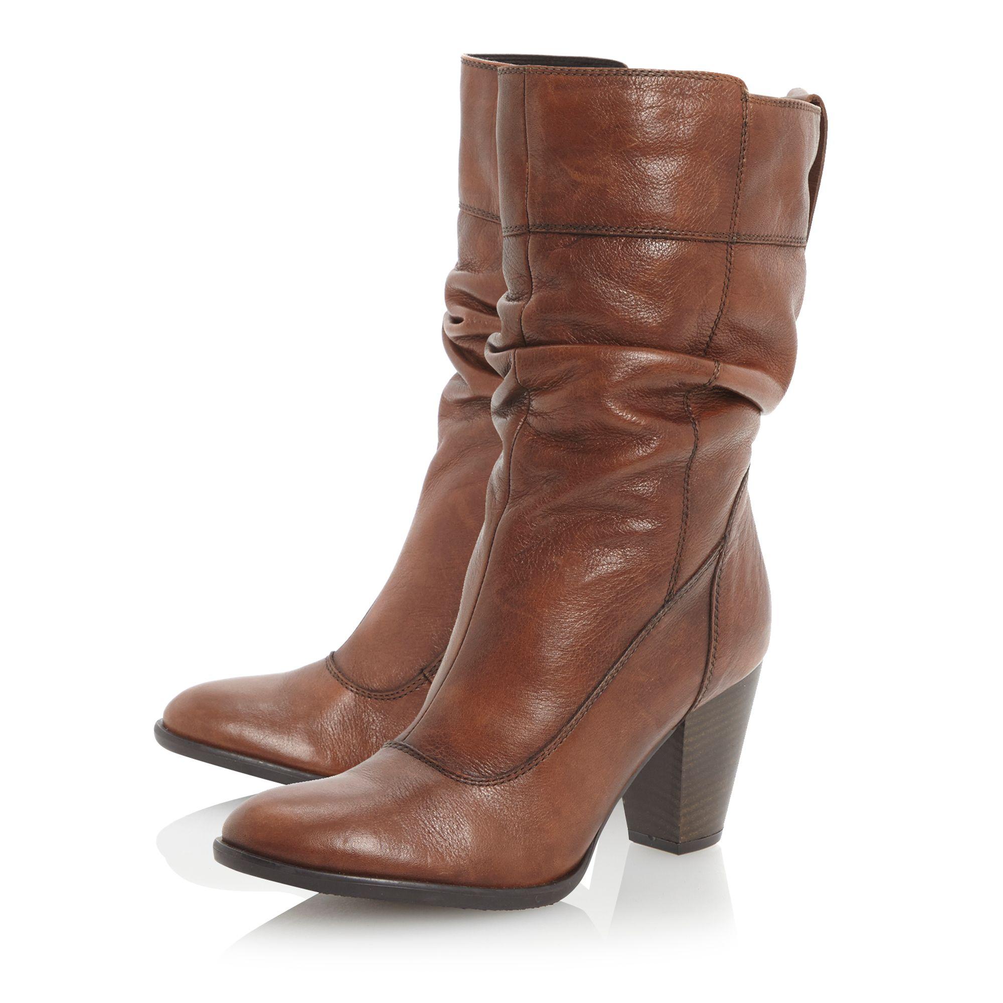 Dune Rad Slouch Block Heel Calf Boots in Brown  Lyst