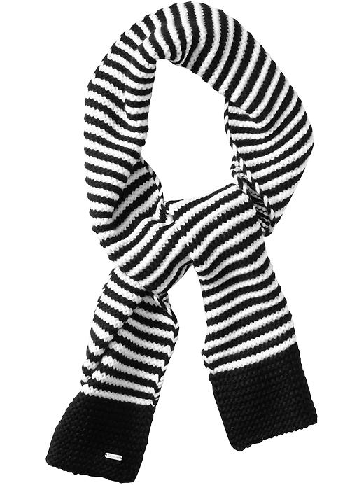 Calvin Klein Linked Stripe Knit Scarf in Black for Men