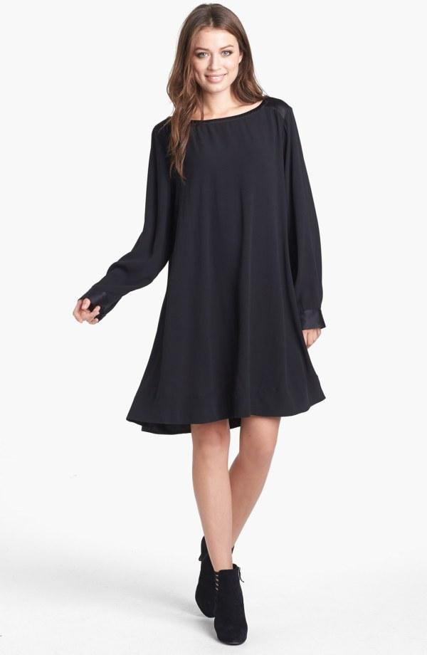 Eileen Fisher Bateau Neck Dress Shift Silk