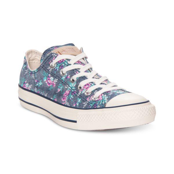 Converse Purcell Ltt Floral Sneakers In Dark Denim Blue