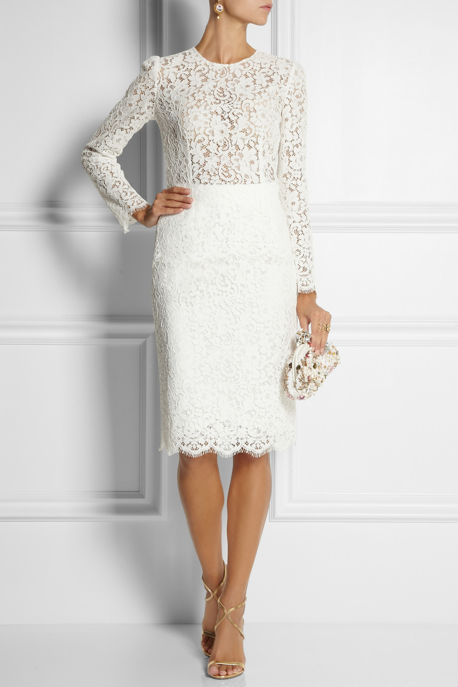 Lyst Dolce Amp Gabbana Cottonblend Lace Pencil Skirt In White