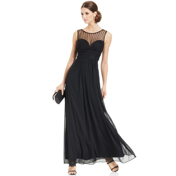 Xscape Petite Sleeveless Illusion Sweetheart Gown In Black