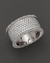 Roberto Coin Synthetic 18k White Gold Florentine Diamond ...