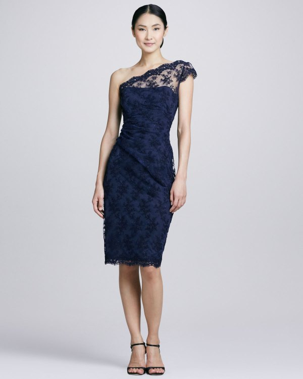 Lyst - David Meister Oneshoulder Lace Cocktail Dress In Blue