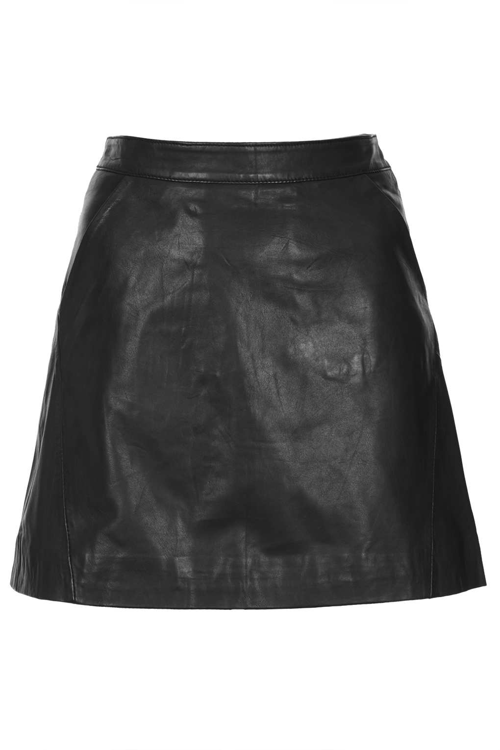Lyst  Topshop Black Leather A Line Skirt in Black