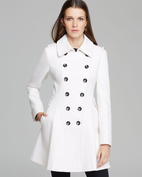 Lyst - Spiga Double Breasted Military Coat In White
