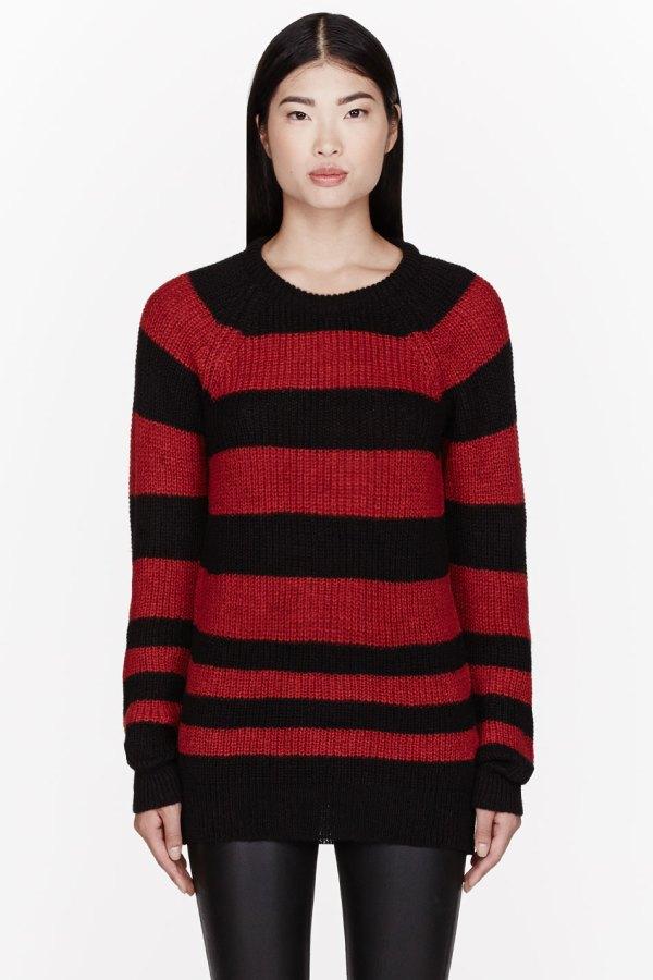 Iro Black And Red Striped Barbara Sweater In