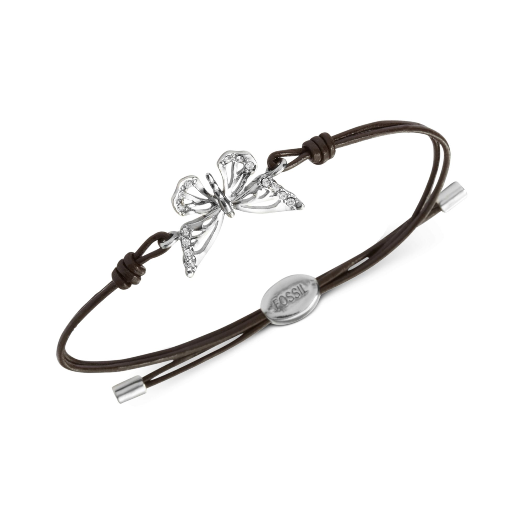 Fossil Silver Tone Butterfly Brown Leather Wrist Wrap