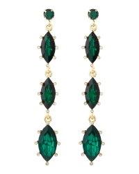 Fragments Linear Marquise Drop Earrings Emerald in Green ...