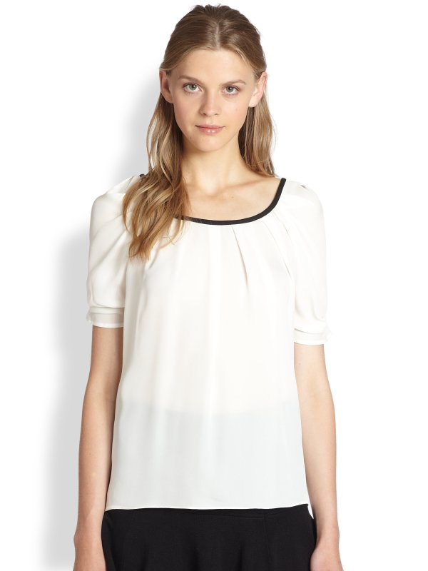 Joie Eleanor Silk Scoopback Bow Blouse In White Porcln-caviar Lyst