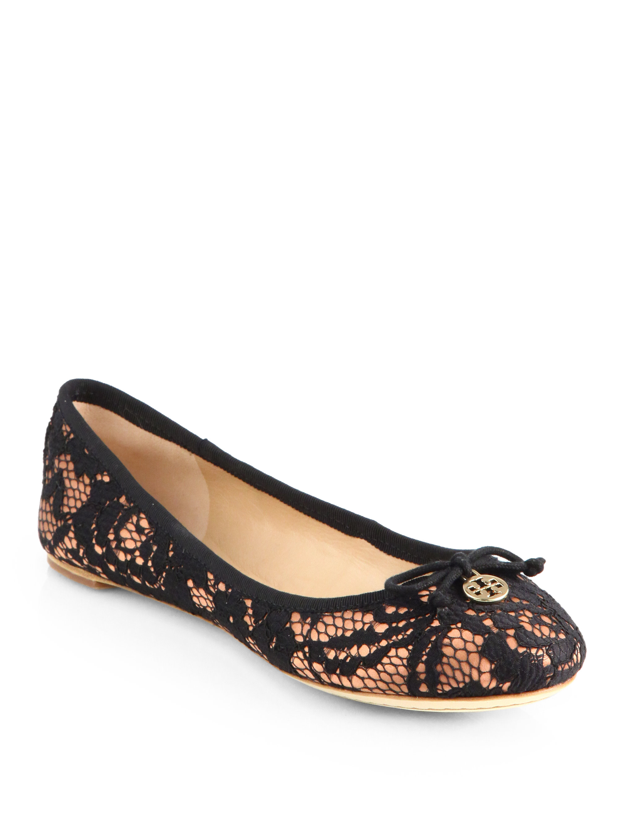 Tory Burch Chelsea Lacecovered Silk Ballet Flats in Black