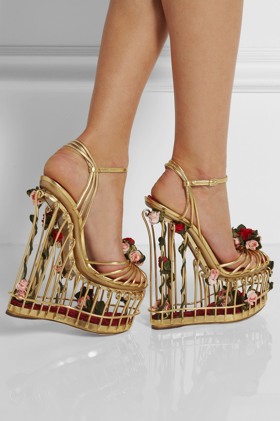 Lyst  Dolce  Gabbana Roseembellished Metallic Leather Cage Sandals in Metallic