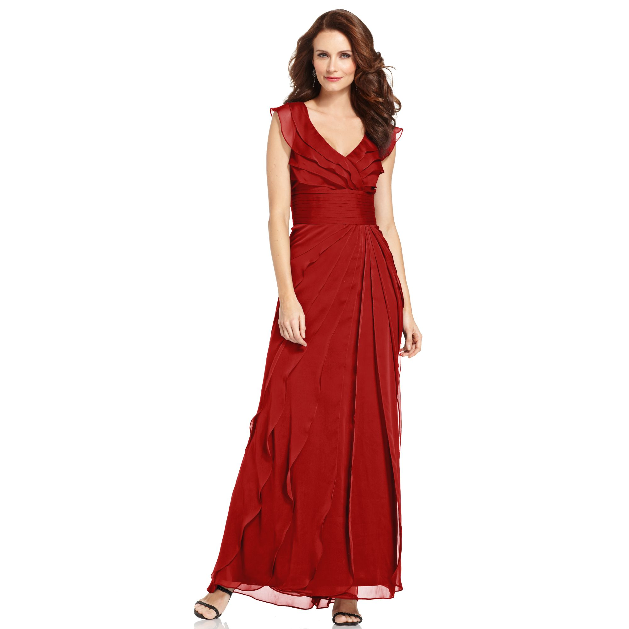 Adrianna Papell Tiered Evening Dress in Red  Lyst