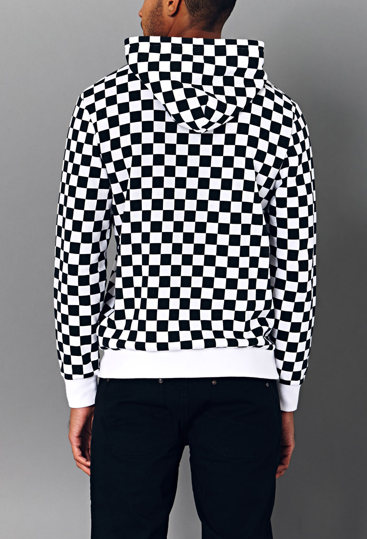 Forever 21 Bold Checkered Hoodie in Black for Men  Lyst