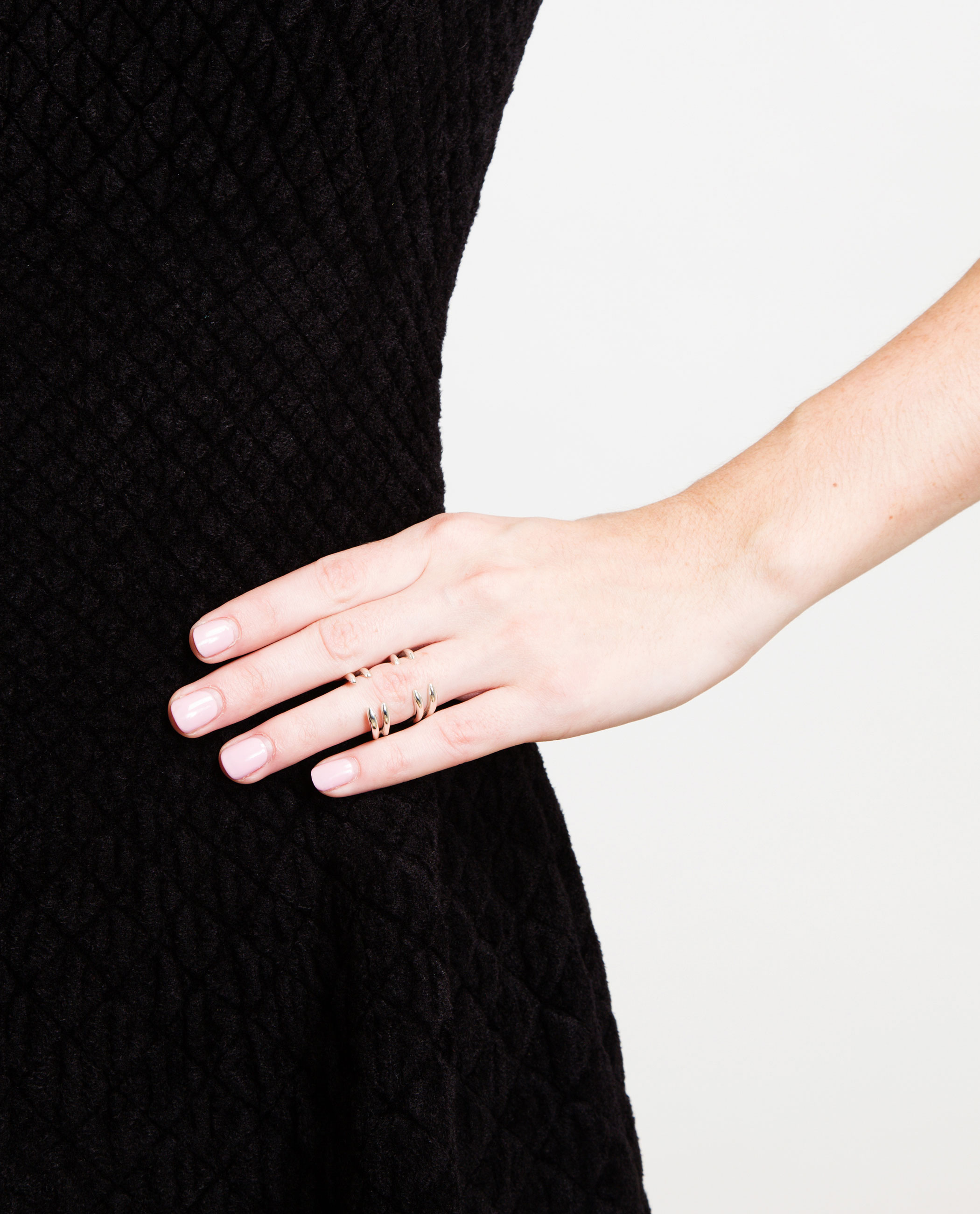 Bijules Solid Silver Double Claw Ring In Metallic Lyst