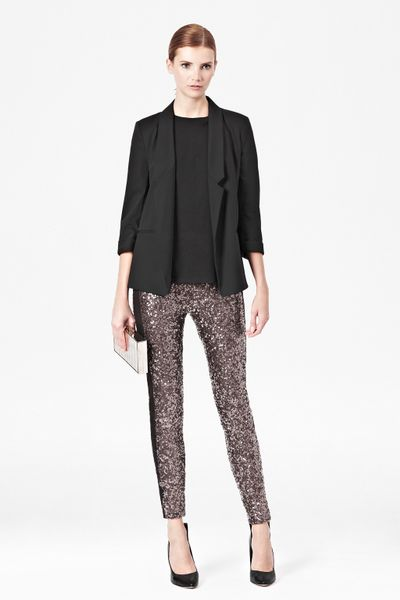 French Connection Tuxedo Sequinned Leggings in Silver